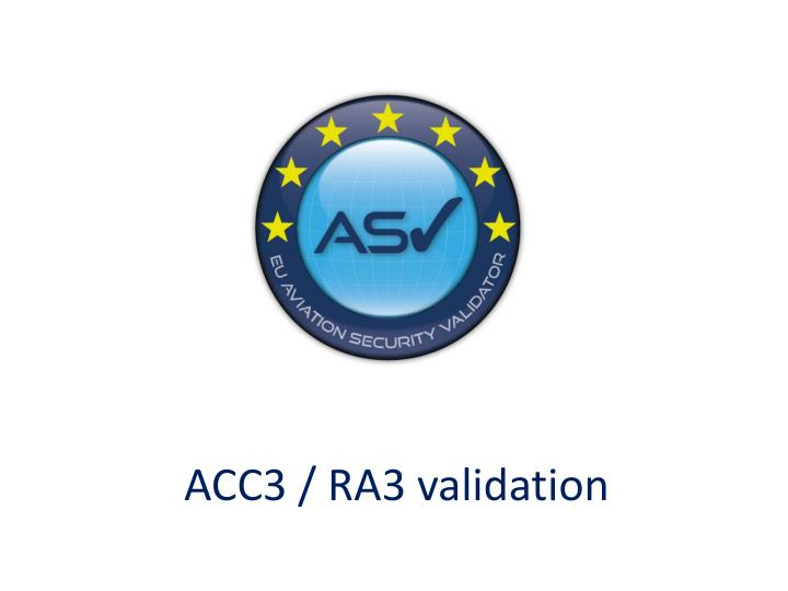 ACC3 EU Validation