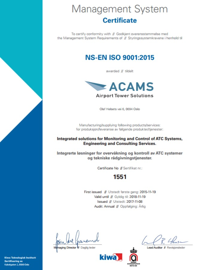 acams iso certificate airport upgraded standards suppliers its according standard monitoring control system