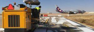 Marking the runways and taxiways at Queen Alia International Airport in Jordan