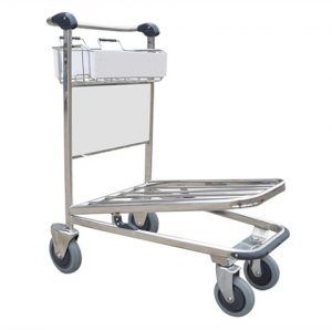 4 Wheel Luggage Trolley - Stainless Steel