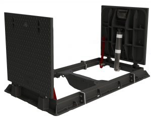 In house design ductile iron compliant double lift assist covers and frame