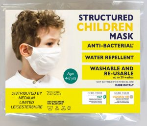Children's Structured Protective Face Mask - 4-8 years - MOQ 100